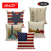 Usa English Union Cushion Covers Jack American Flag Throw Pillow Cases Decorative Car Sofa Bed Printing Cushions Pillow(China)