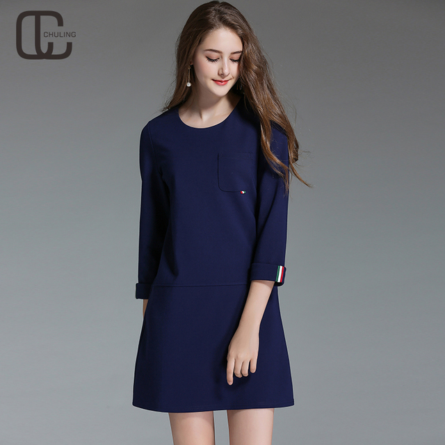 bf4bde35ca0 Autumn Women Ribbon Simple Blue Red Casual Dresses Ladies O-Neck  Three-quarter Sleeves Dress A-Line Elegant Plus Size Dress 5XL