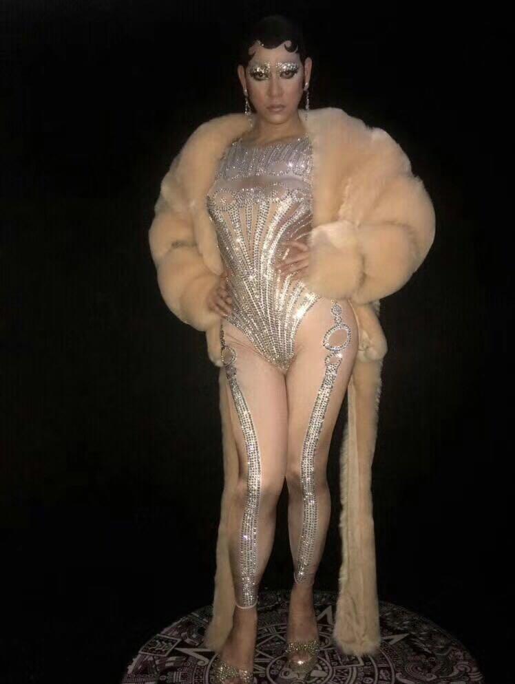 Las mujeres Sexy leotardo de set de monos brillante cristales mujer DJ DS trajes de actuación en discoteca mostrar pista de baile ropa - 4