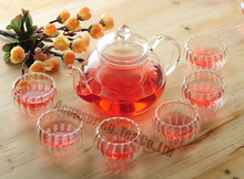 600ml Heat-Resistance Glass Teapot,Pyrex Coffee pot with filter+6 PC Pumpkin cups,suitable for Milk Oolong,Dianhong,Dahongpao(China)