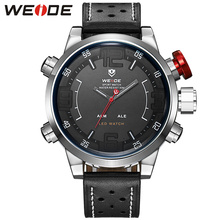 WEIDE Sports Watch Leather Strap Mens Watches Top Brand Luxury 3D Black Face Quartz Analog Digital Waterproof Military Watches