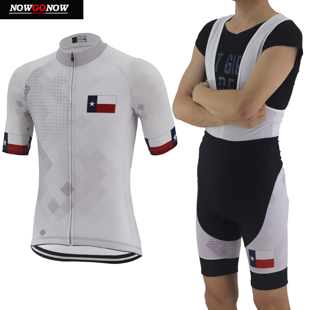 Nowgonow Wear Cycling-Jersey Clothing Texas-Bike Short-State Racing White Pro of Men