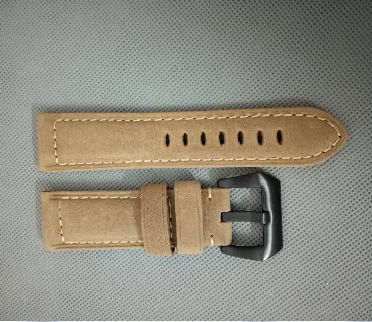 free shipping 24mm Light brown color arenaceous Genuine leather <font><b>watch</b></font> <font><b>strap</b></font> with <font><b>PVD</b></font> 316L stainless steel buckle 000271gggg image