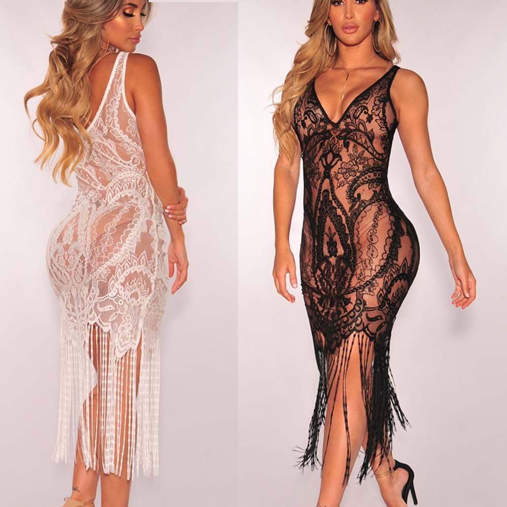 HTB135IwaJfvK1RjSspoq6zfNpXaz Women Sexy Summer Tassel Slim Black Lace Hollow Out Bodycon Lace Dress Beach Sleeveless Dresses