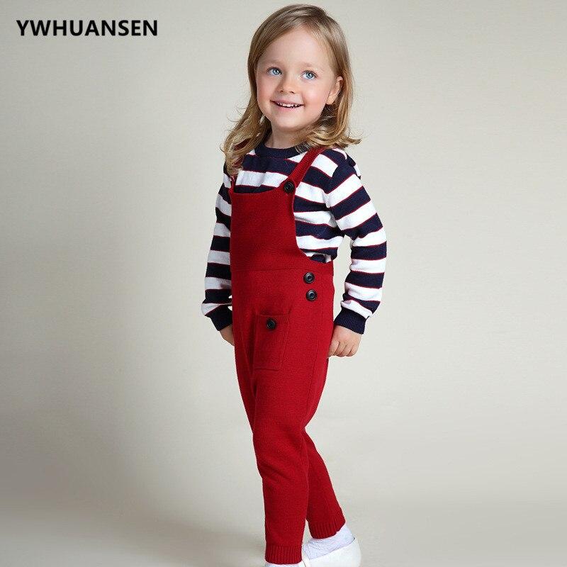 YWHUANSEN на возраст от 1 до 5 лет весна трикотажные Свитеры для девочек унисекс карман комбинезон Детская Карамельный цвет комбинезон длинные б... ...