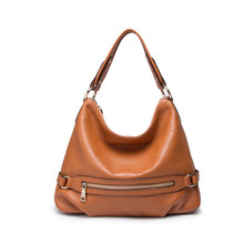 Genuine Leather Handbags 2017 Vintage Woman Totes Half Moon Bag Zipper Soft Shoulder Bag Black & Brown Female Bolsas Hand Bag