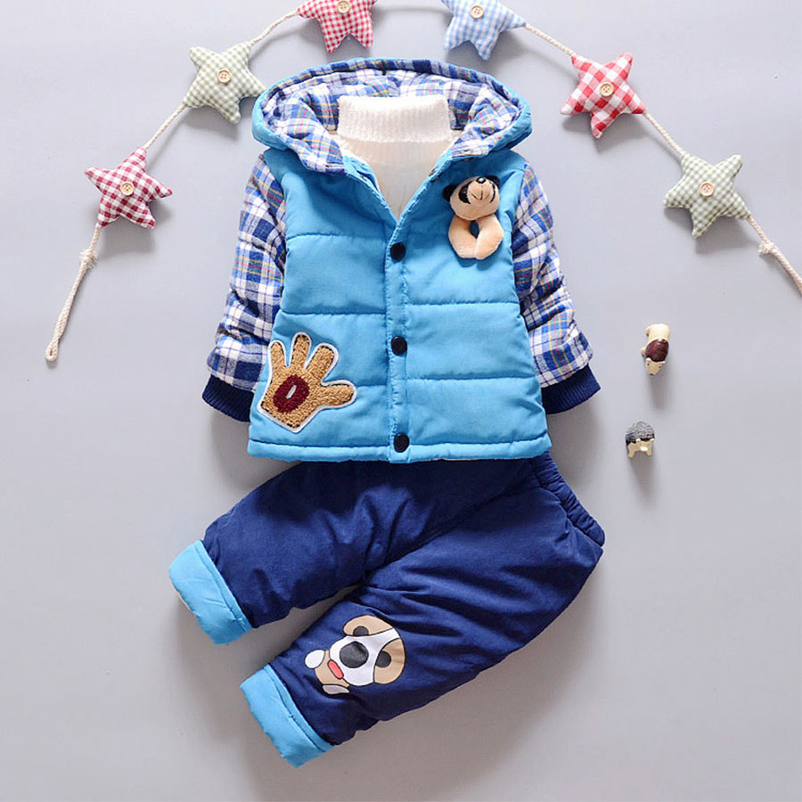 The New Winter Suit for Boys with Cashmere Thick Jacket Piece Male Baby Clothes Boy Clothes Work Clothes for Children In Winter children autumn and winter warm clothes boys and girls thick cashmere sweaters