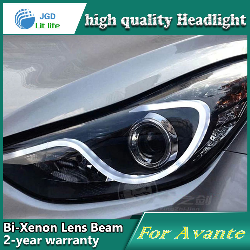High Quality Car Styling Case For Hyundai Avante 2012 2014 Headlights LED Headlight DRL Lens Double