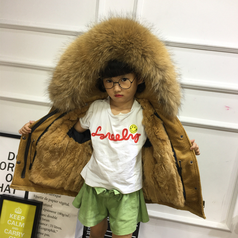 Girl's Winter Loose Fashion Big Real Raccoon Hooded Corduroy Parkas Kids Children's Rabbit Liner Detachable Fur Thick Warm Coat 2017 long brand winter jacket women outwear thick parkas large real natural raccoon fur coat hooded real warm raccoon fur liner page 8