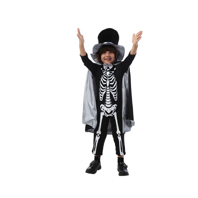 Children Gentleman Clothing in Fancy Carnival Party Halloween Black Skeleton Devil Cosplay Costume with Hat & Caps