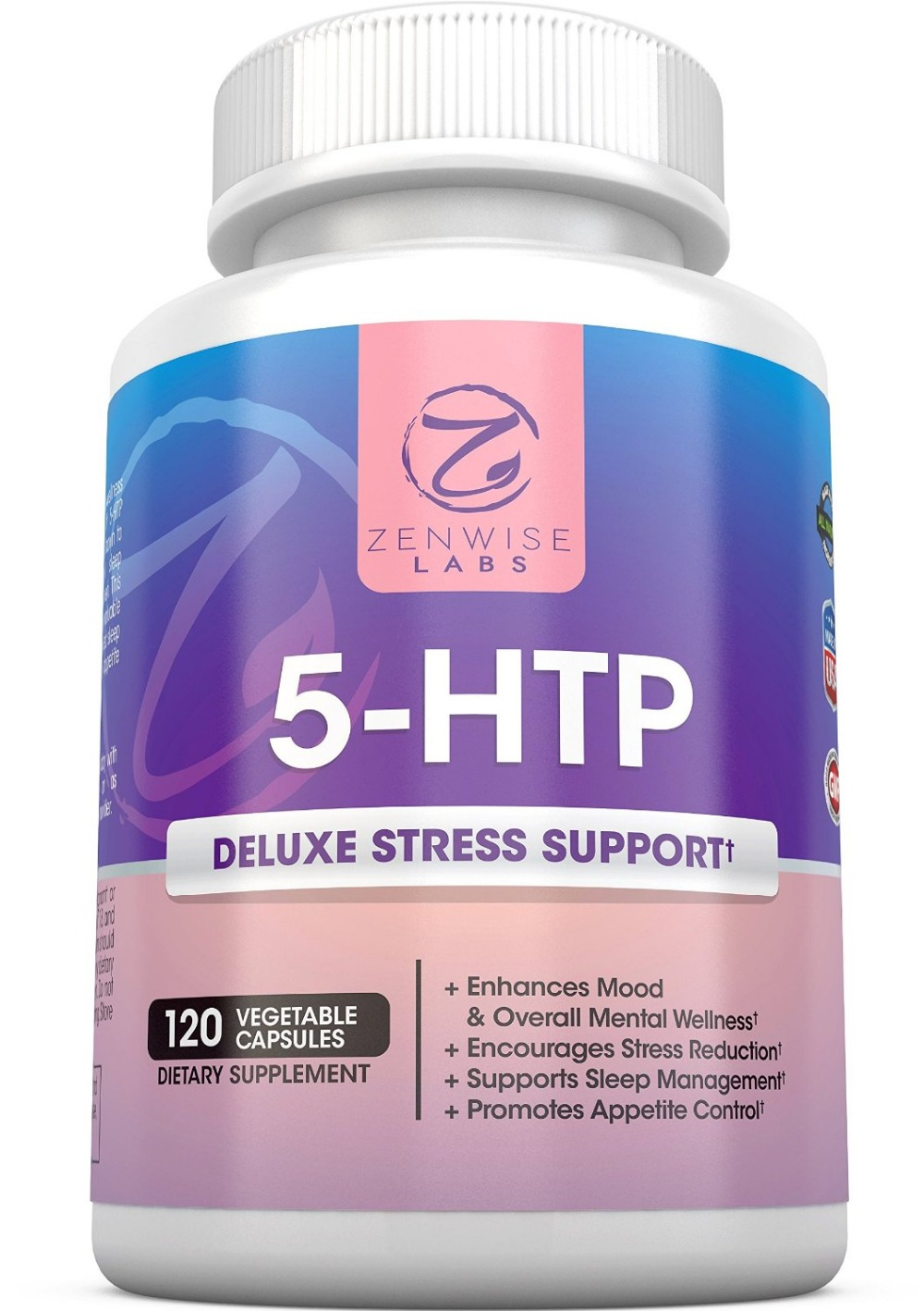 5-HTP - 5 HTP 100 mg  + Vitamin B6 - Stress Relief & Mood Control Supplement - All-Natural Appetite Suppressant - 120 Capsules 98% 5 htp 5 hydroxytryptophane herbal supplement