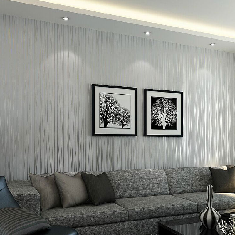 Modern Living Room Sofa TV Background Wall Decor Wallpaper 3D Embossed Non-woven Vertical Striped Wallpaper For Bedroom Walls