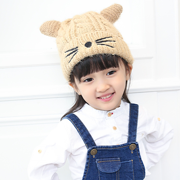Winter cute baby cat wool knitted hat  Boys and girls leisure warm thick beanies 5color baby handmade warm knit hat boys and girls watermelon seed cap children autumn and winter cute fruit hedge wool hat beanies