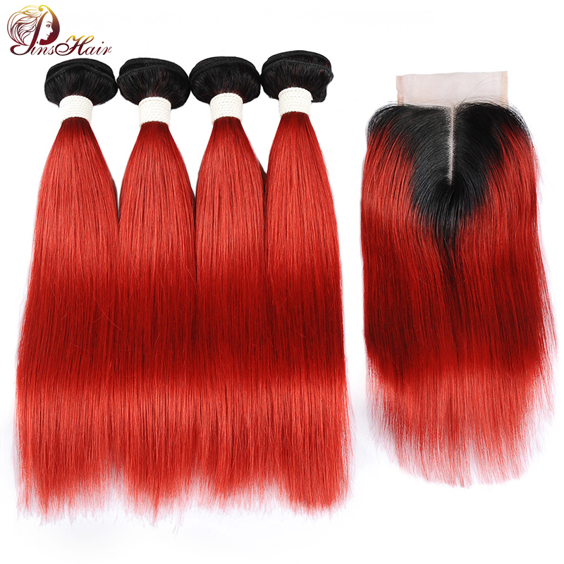 Pinshair 1B Red 4 Bundles With Closure Ombre Hair Burgundy Malaysian Hair Bundles With Closure Straight Human Hair Weave Nonremy