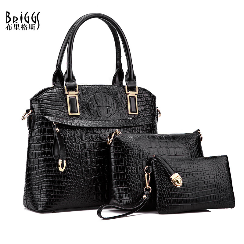 BRIGGS 3 Pcs/Set Vintage Handbags Women Messenger Bags Female Shell Bag Shoulder Bags Office Lady Casual Tote Top-Handle Bag 3 pcs set vintage handbags women messenger bags female purse solid shoulder bags office lady casual tote new top handle bag
