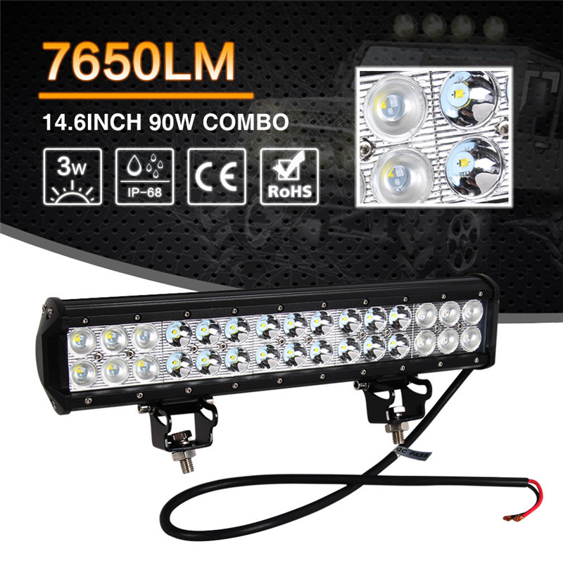 14.6inch 90W With Cree Car LED Work Light Bar Combo Flood Spot Beam For Jeep Offroad Driving Lamp SUV DRL Daytime Running Light