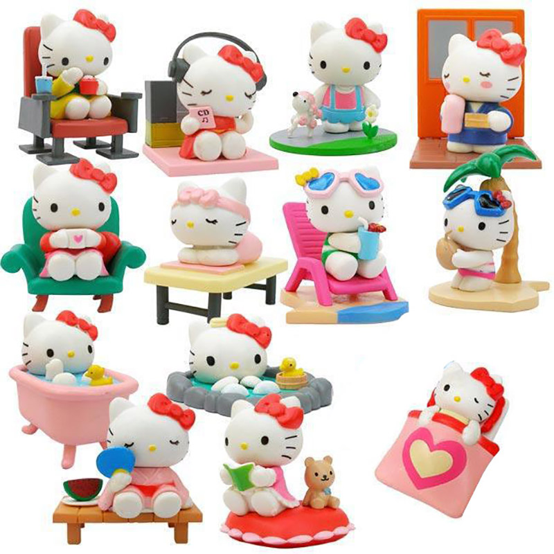 13Pcs/Lot Hello Kitty Action Figure Anime Kids Toys Kids Toys for Girls Play House Model Dolls Gifts for Kids