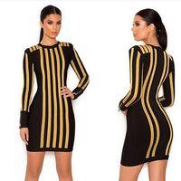 2018 Elegant sexy black gold winter women boutique dress long sleeve bandage bodycon vestido brief cocktail gown party dresses