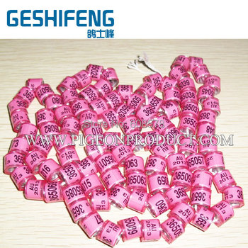 2016Aluminium core rings can design your name ,phone number bird foot ring,ring pigeon