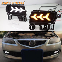 JAZZ TIGER Flowing Turn Yellow Signal Function 12V Car DRL LED Daytime Running Light Fog Lamp For Mazda 6 2005 2006 2007 2008