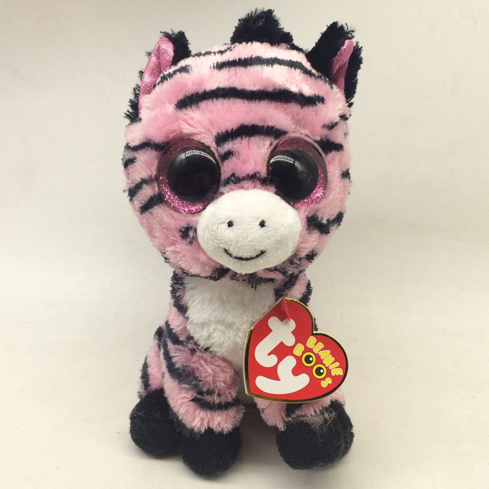 Pyoopeo Ty Beanie Boos 6 15cm Zoey The Pink Zebra Plush Regular
