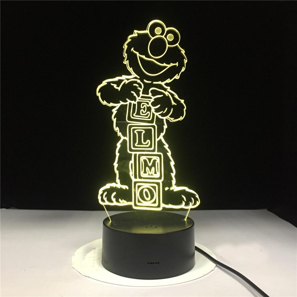 Led Night Light Cartoon Sesame Street ELMO Figure 3d Lamp Home Decoration Light Birthday Gift For Child Bedroom Novelty Lights