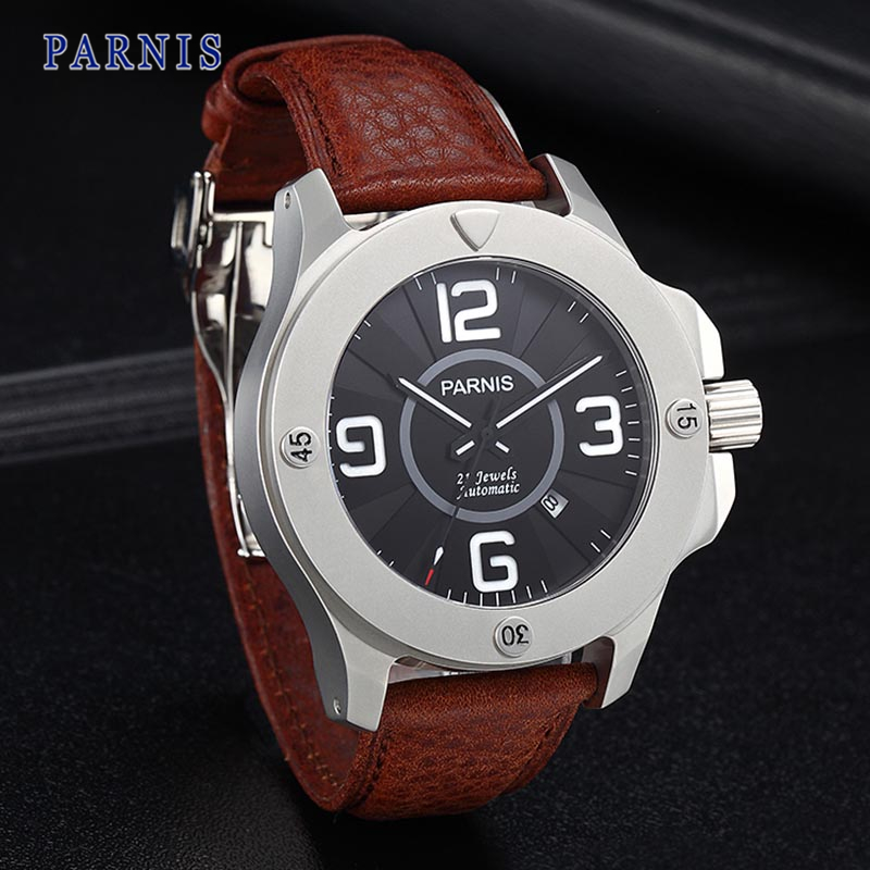 47mm Parnis Stainless Steel Watch Men Sapphire Crystal Black Dial PA6035 Automatic Movement Mechanical Wristwatch