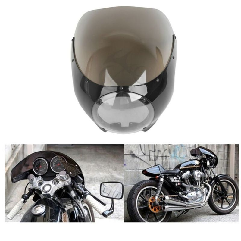 Motorcycle ABS Cafe Racer 5 3/4 Headlight Fairing Windscreen For Harley Cafe Racer Drag Racing Sportster XL 883 1200 Dyna motorcycle chrome front spoiler chin fairing for harley sportster xl883 1200 04 15 new