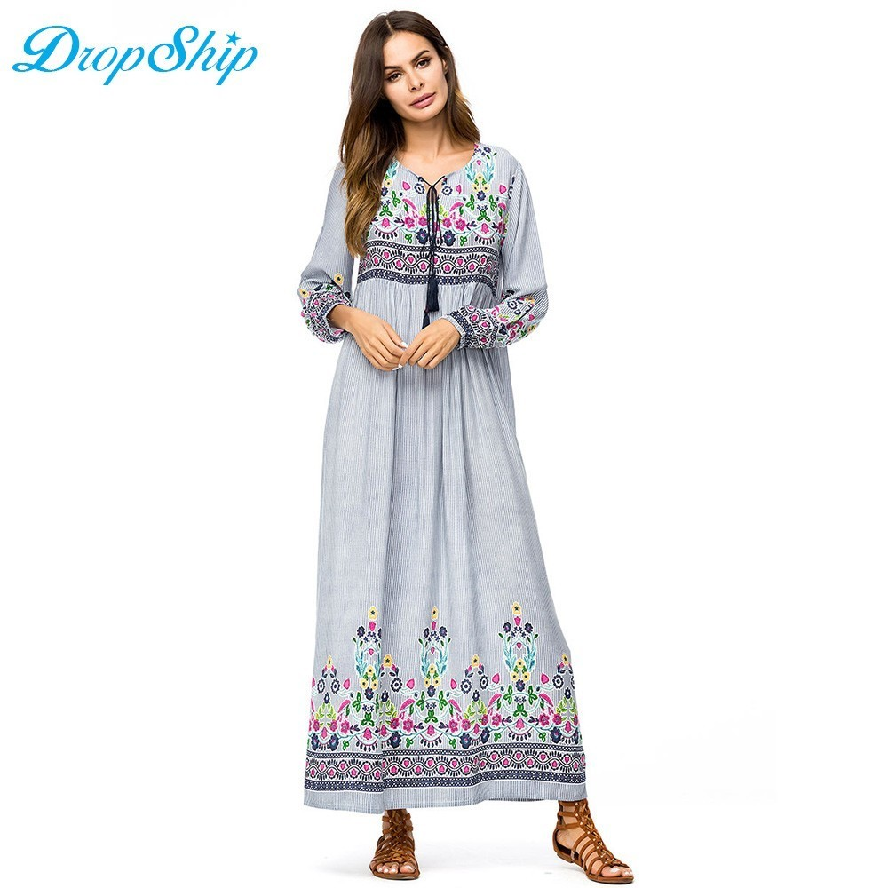 dcd2baaf564e5 US $16.45 53% OFF|Dropship Denim Embroidered Swing Dress Fall 2018 More  Style Embroidery Patchwork Muslim Dresses Autumn High Waist Draped  Design-in ...