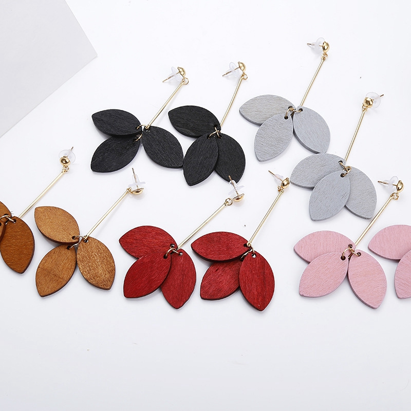 Vintage Korean Wood Long Dangle Earrings For Women Jewelry Female Petals Drop Earrings Black Red Pink Pendientes Earrings