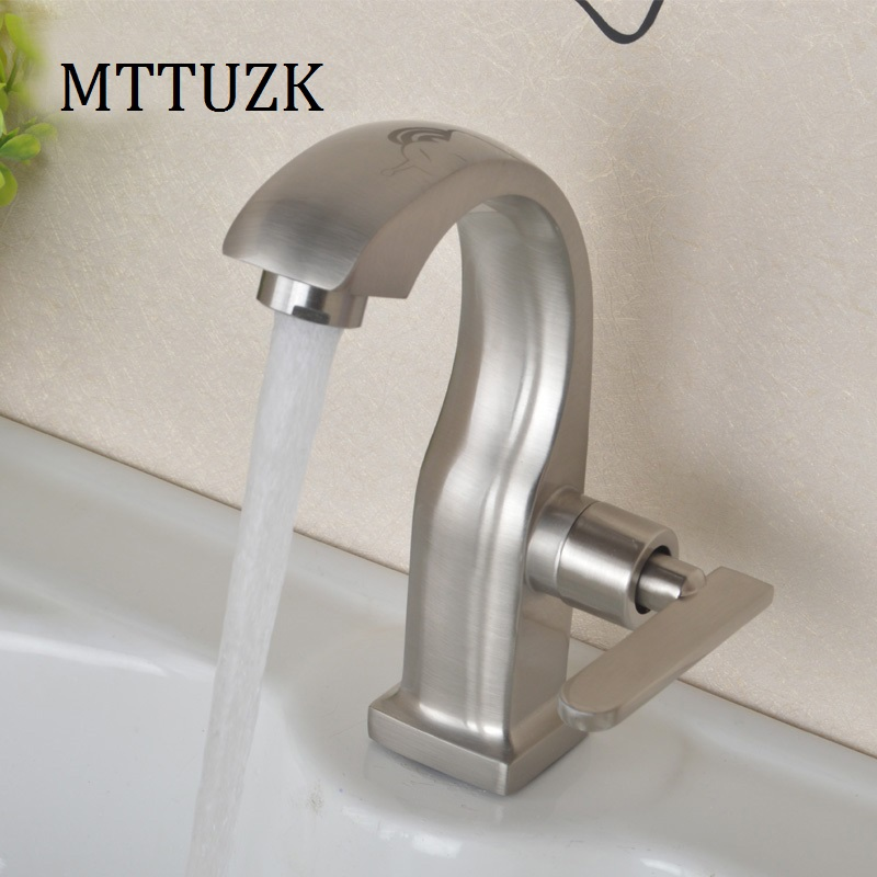 Stainless steel single handle single hole single cold noodle faucet toilet wash basin faucet ceramic basin