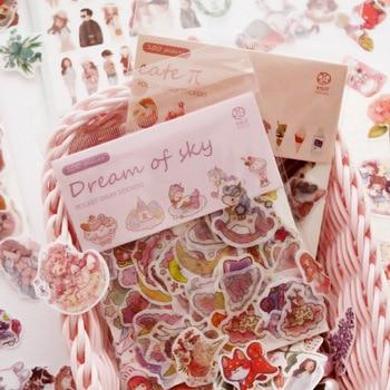 100pcs/bag Happiness Cat Decorative Washi Stickers Scrapbooking Stick Label Diary Stationery Album Stickers Stationery Stickers