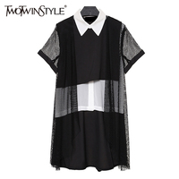TWOTWINSTYLE 2017 Summer Tops Female Chiffon Blouses Women S Shirt Patchwork Mesh Grid Short Sleeve Checkered