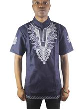 Africa Both Side Embroidery Men`s Ethnic Tops Mandarin Collar Dashiki Shirts for Wedding