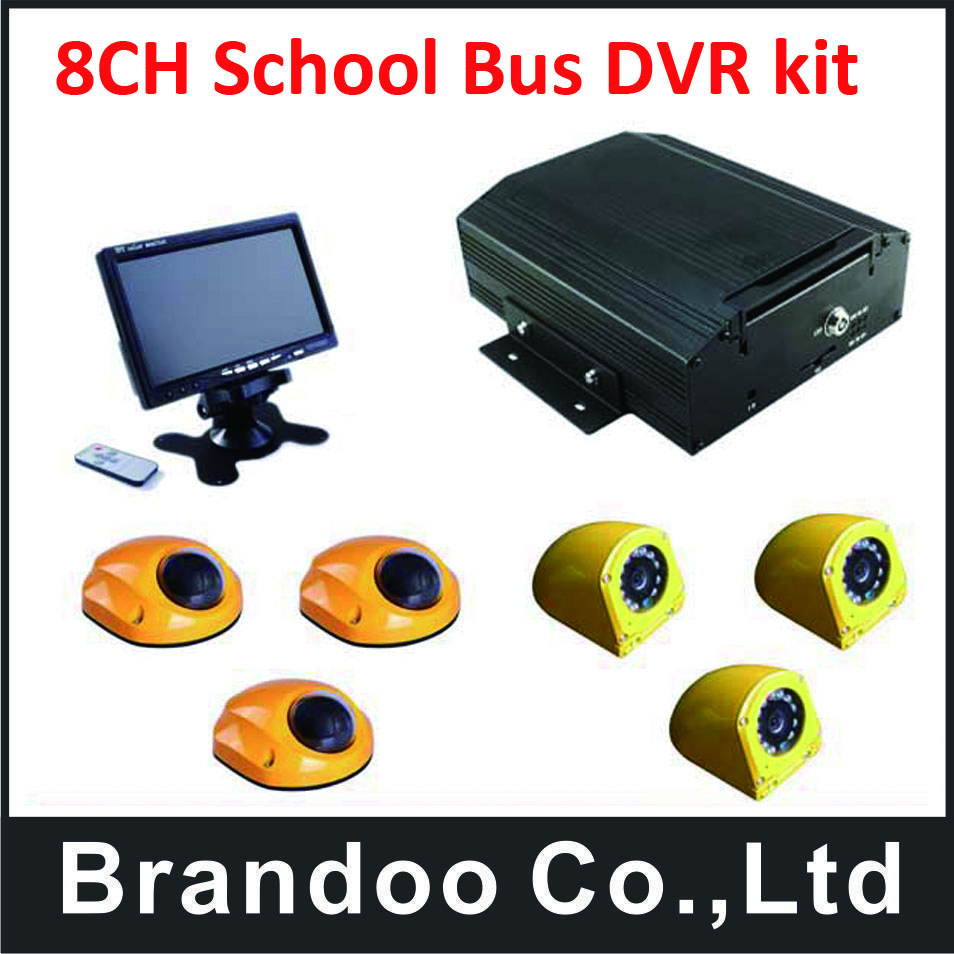 8 channel School BUS DVR kits with 6pcs school bus cameras+1pcs 7.0inch monitor,for shcool bus used,free shipping
