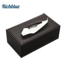 Купить с кэшбэком Stylish rectangular PU leather facial tissue box  tissue cover napkin box table decoration dark brown  A002