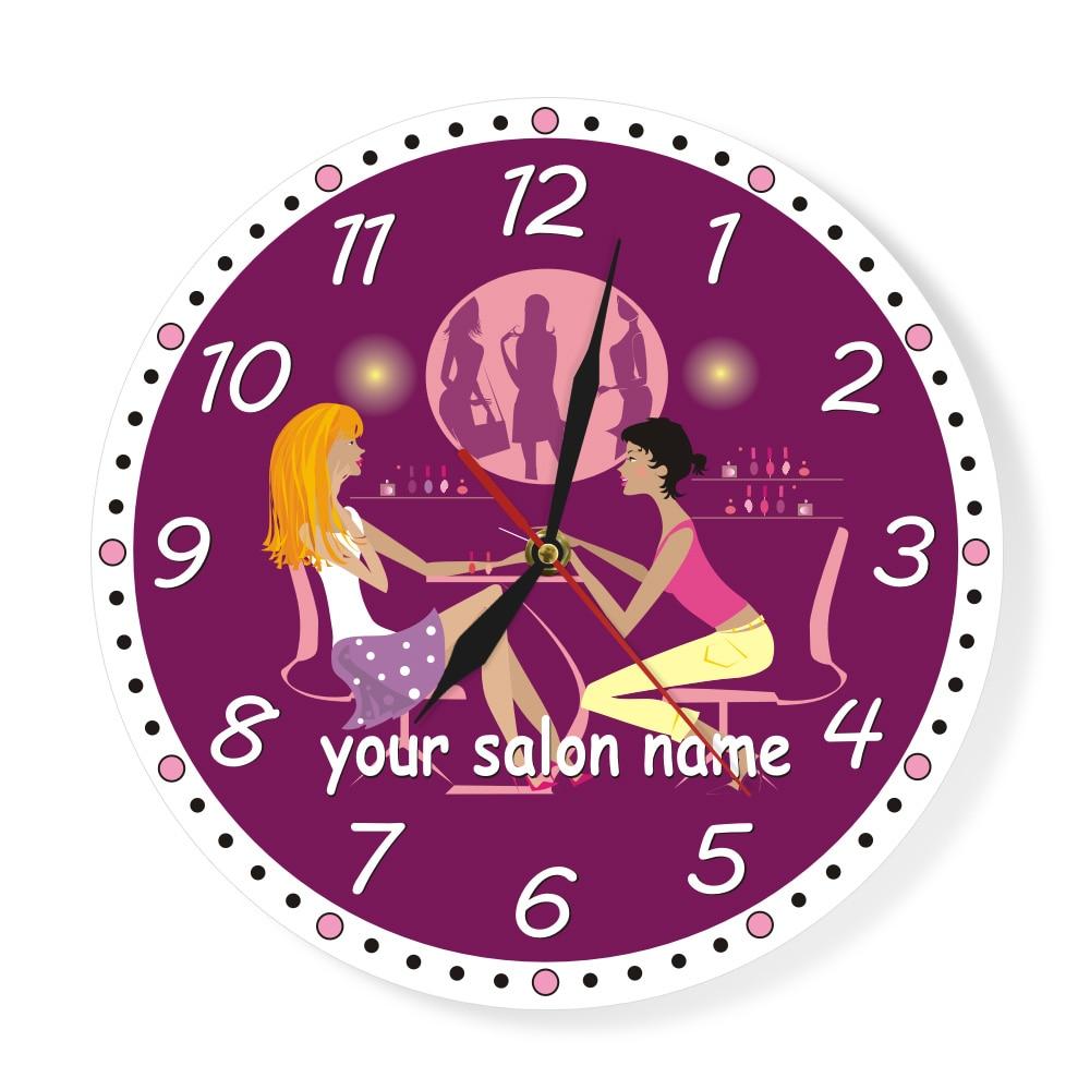 Nail Studio Wall Clock Personalized Name Nail Salon Technician Finger Nail Polish Watch Manicure Business Name Custom Wall Clock