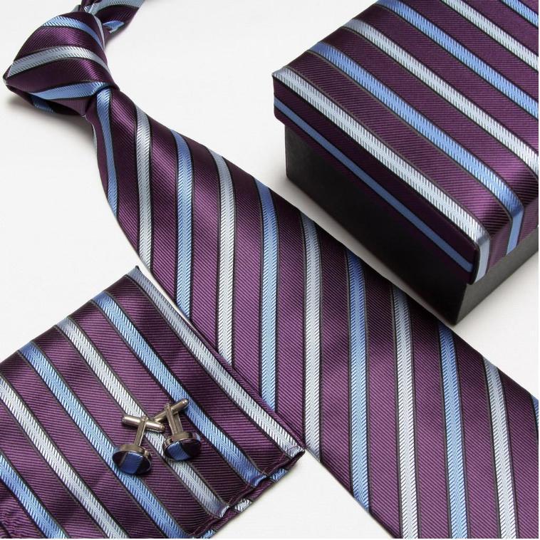 Полосатый набор галстуков галстуки Запонки hanky высокого качества галстуки Запонки карманные квадратные не-Тряпичные носовые платки#8 - Цвет: 10