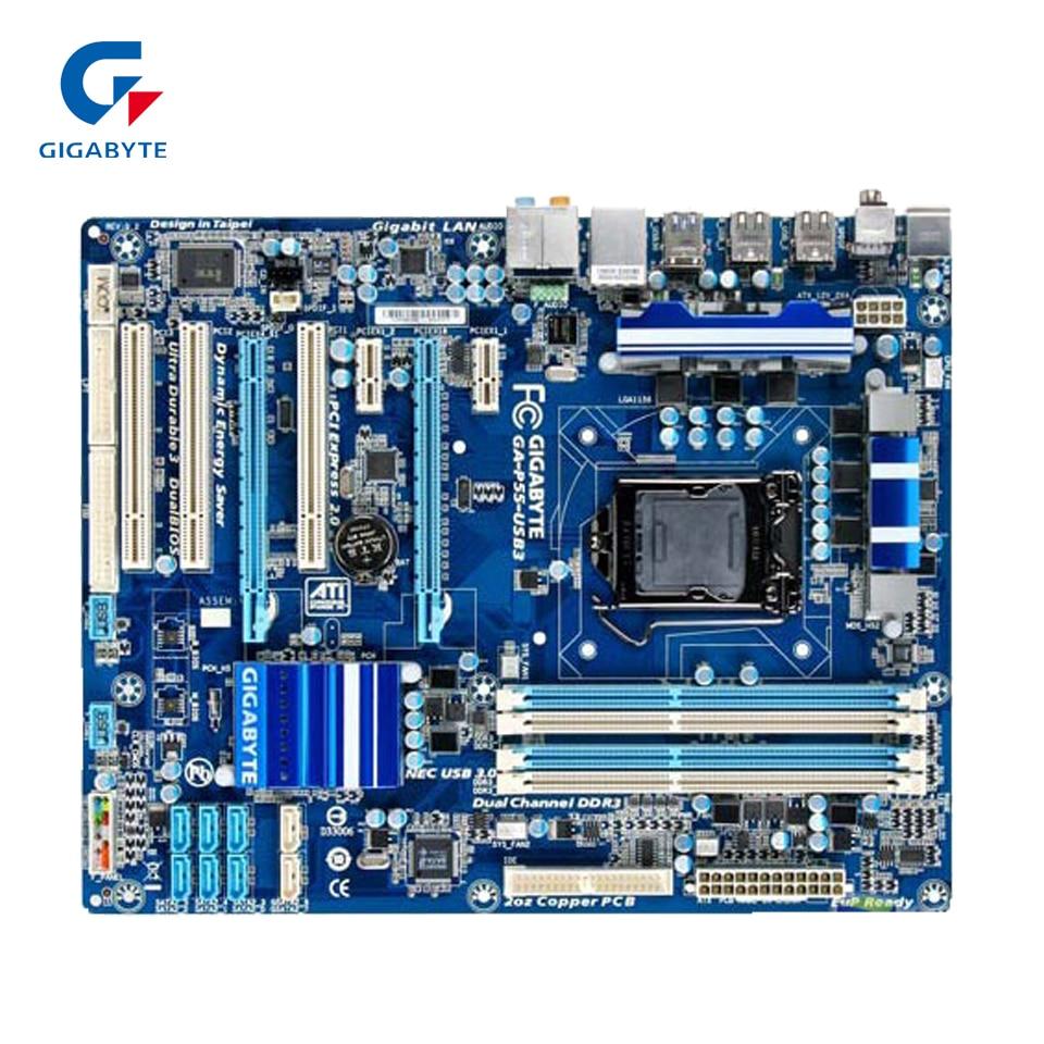 Gigabyte GA-P55-USB3 Original Used Desktop Motherboard P55-USB3 P55 LGA 1156 i5 i7 DDR3 16G SATA2 USB3.0 ATX gigabyte ga 8i945plg original used desktop motherboard 945 lga 775 ddr2 atx