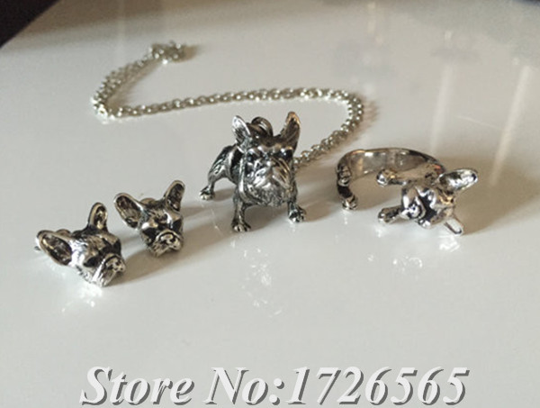 New Style 3Colors Hippie Chic French Bulldog Necklace Boho Complete Set Dogs Best Friends Gift For Men Women Fashion Jewelry