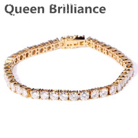 Solid 14K 585 Yellow Gold 10 Carats Ct 4mm F Color Bracelet For Women Test Positive