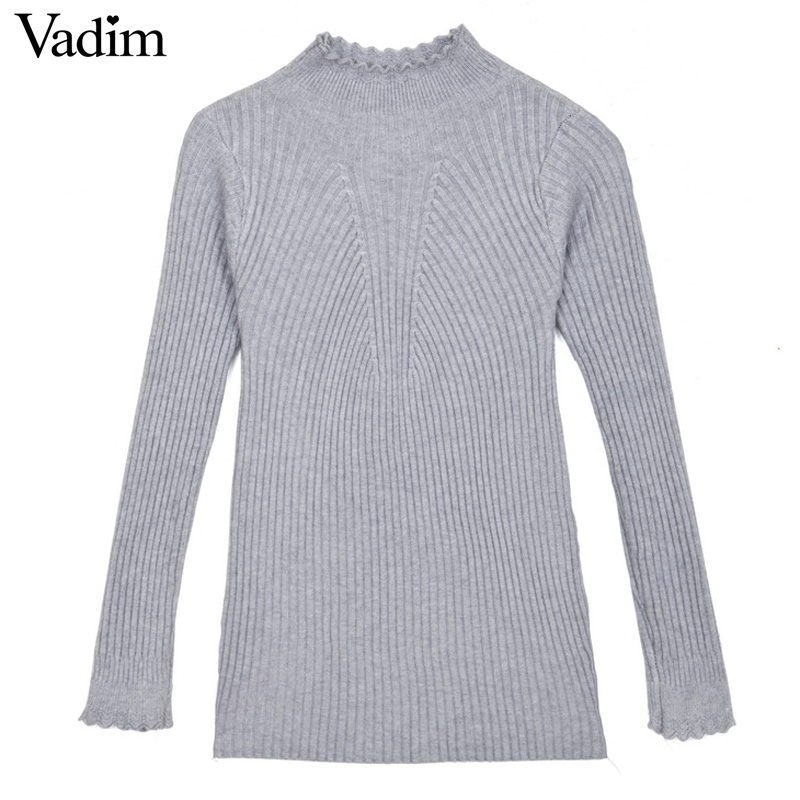 Women Long Sleeve Stitching T Shirt Winter Warmer Knitted Elegant Pullovers Tops