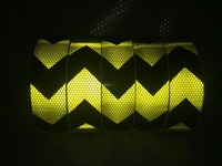10Roll Wholesale Fluorescent yellow arrow Reflective Tape Reflective Safety Warning Tape for car