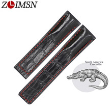 ZLIMSN Customized Crocodile Leather Strap Fit For TAG Heuer Autavia CARRERA 20 22 24MM WatchBand