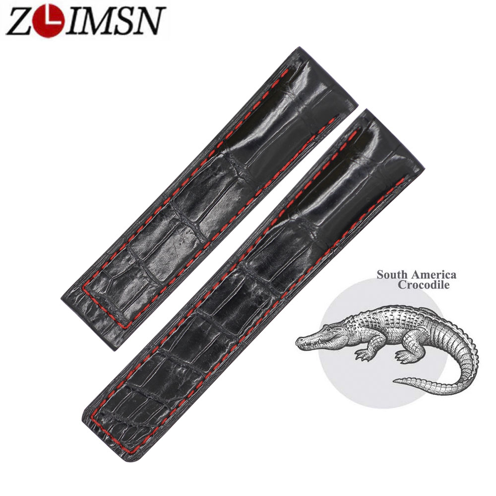 ZLIMSN New Fashion Black Bamboo Pattern Crocodile Leather Strap For Men And Women Can Be Customized Size 20mm 22mm 24mm fashion rabbit and grass pattern 10cm width wacky tie for men