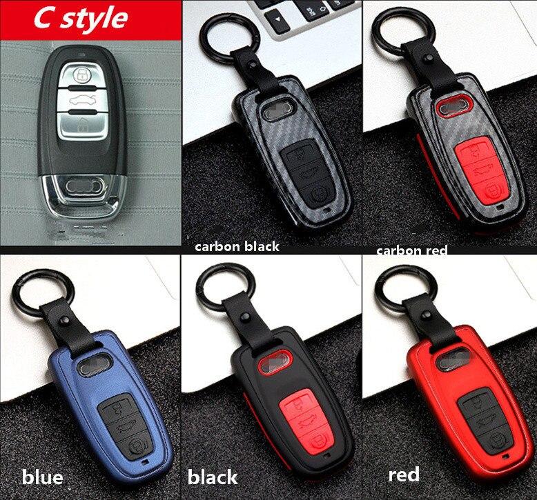 Image 5 - Новый карбоновый полосатый матовый текстурный автомобильный чехол для ключей для Audi Q3 Q5 Sline A3 A5 A6 C5 A4 B6 B7 B8 TT 80 S6 C6 дистанционный ключ куртка-in Футляр для автомобильного ключа from Автомобили и мотоциклы
