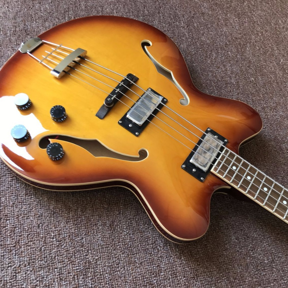 hollow body jazz electric bass guitar maple top jazz bass guitar factory direct sales double f. Black Bedroom Furniture Sets. Home Design Ideas