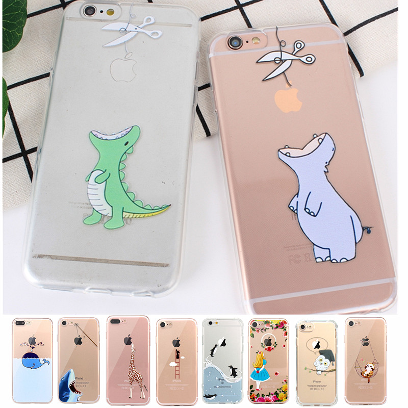 Transparent Animal Soft TPU <font><b>Case</b></font> For <font><b>iPhone</b></font> 8 <font><b>7</b></font> 6 6S 5 5S SE Silicone Cover <font><b>Case</b></font> For Apple <font><b>iPhone</b></font> 8 Plus <font><b>7</b></font> Plus 6 6S image