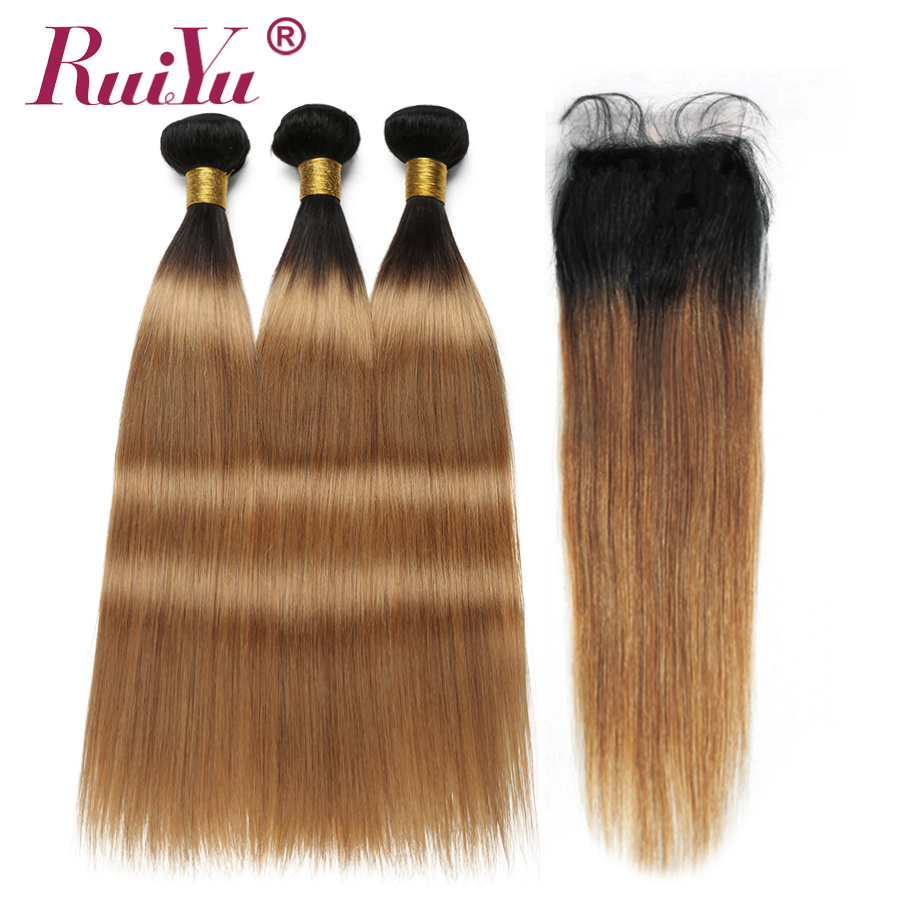 Ombre Bundles With Closure 1B 27 Blonde Ombre Straight Human Hair Bundles With Closure Non Remy