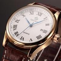 Relojes 2016 New Clock Men Luxury Elegant Date Display Coffee Leather Band Rose Glod Wrist Watch